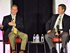 <p>Transplace CEO Tom Sanderson, right, shares the stage with trucking analyst Thom Albrecht, managing director at BB&T Capital Markets, during the 11th Annual Transplace Shipper Symposium held in Dallas earlier this month. Sanderson and Albrecht encouraged shippers to treat drivers with respect — or risk not having reliable truck service as capacity tightens.<em> (Photo courtesy Transplace)</em></p>