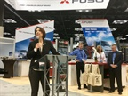 Jecka Glasman, president and CEO of Mitsubishi Fuso, announcing new products at the Work Truck Show in Indianapolis. Photo: David Cullen
