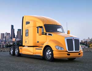 Kenworth's T680 features a sculpted full-height roof, optimized bumper and hood, full-height side extenders, cab/sleeper-to-fairings closeout panels, chassis fairings extenders and flush-mounted lighting.