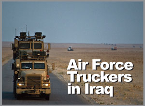 A U.S. Air Force M915 tractor from the 70th Medium Truck Detachment leads a convoy of 43 vehicles through Iraq with a load of equipment and supplies. They traveled 1,100 miles in seven days. (Photo by Master Sgt. Jeffrey Allen)