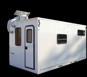 Foldable shelter consists of panels made of Wabash National's DuraPlate composite trailer walls.