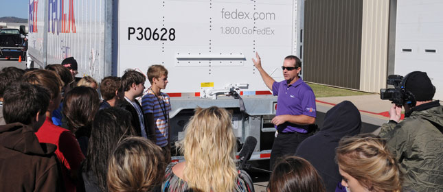 FedEx Freight driver educates drivers of all ages about driving safety around big trucks.