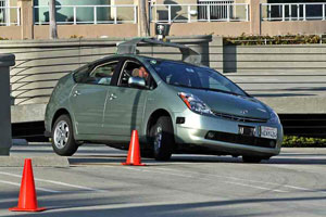 Google's driverless car on a test course. (Photo by Steve Jurvetson)