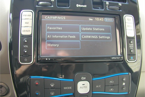 The Leaf's telematics system is called Carwings. The system has cell phone capability, allowing owners to charge remotely or receive a notification of a full charge, as well as locate the nearest charge point on the road. Drivers can also use a social-networking feature that ranks the eco-friendliness of each driver in worldwide rankings.