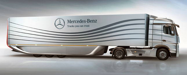 Mercedes-Benz concept trailer slashes wind drag 18%.