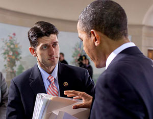 Rep. Paul Ryan, left, now the vice presidential candidate, speaks with President Barack Obama in 2010.
