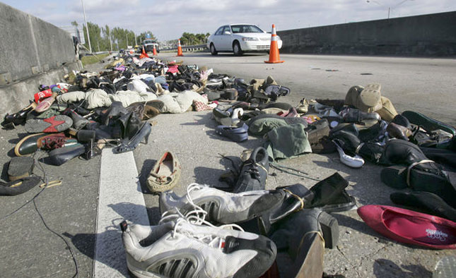 On January 2, 2009, shortly before 8:00 a.m., thousands of shoes mysteriously appeared on a Miami highway. Who spilled the shoes? Nobody knows. But they disrupted traffic on the Palmetto Expressway for hours.
