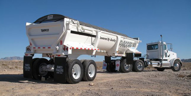 Ranco Anvil 34-foot end-dump is part of a demo rig for Paccar's MX-13 diesel.