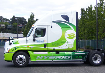 Walmart is one fleet that works hard on turning sustainability into greenbacks, as with this hybrid-electric Freightliner Cascadia project.