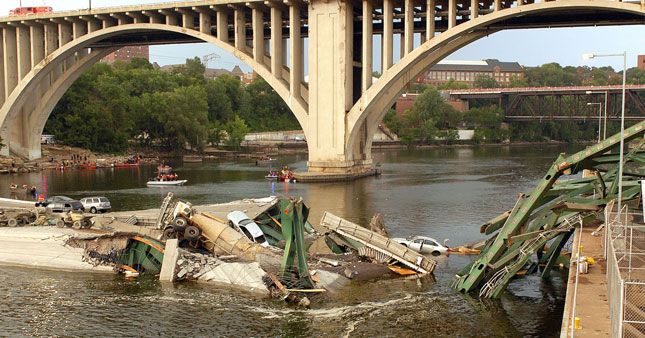 Four years ago, the I-35W highway bridge over the Mississippi River in Minneapolis collapsed. Many hoped it would lead to a major change in infrastructure funding. (Photo from Minnesota DOT)