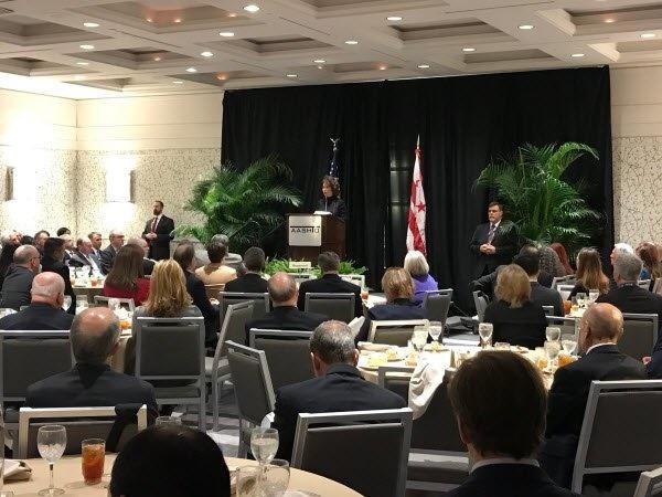 Secretary Chao addressing attendees of AASHTO meeting in Washington on