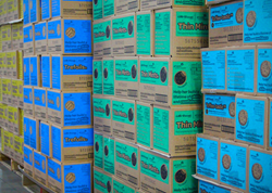 Pallets of cookies awaiting distribution at Evans Distributiong.