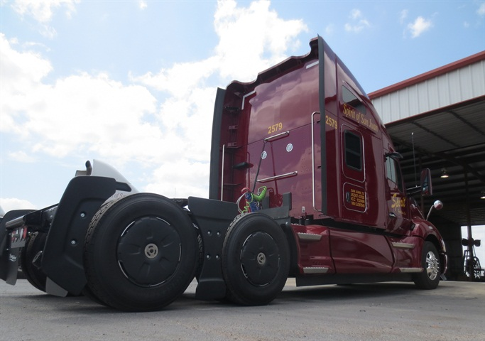 Tractor AeroKit panels and wheel covers smooth air flow around the