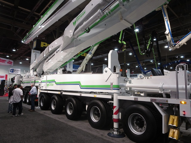 Set up in one of the World of Concrete's halls, the Putzmeister