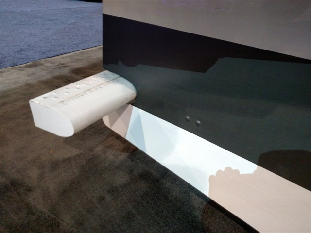 Leading edge of the rear underride guard s horizontal member has been