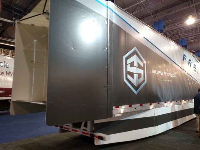 Trailer portion of Freightliner s SuperTruck, displayed at the ATA