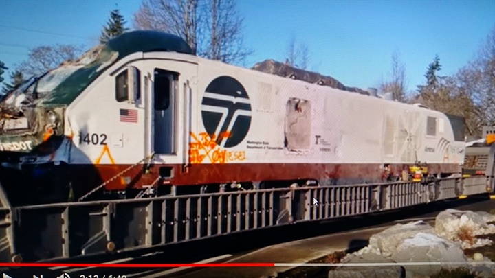 Siemens diesel-electric locomotive was lifted from southbound lanes of
