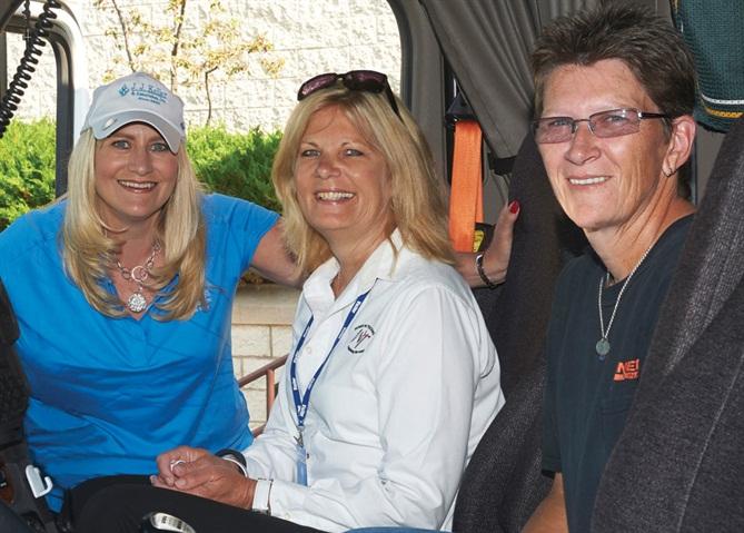 From left, Marne Keller-Krikava from J.J. Keller, Ellen Voie, who