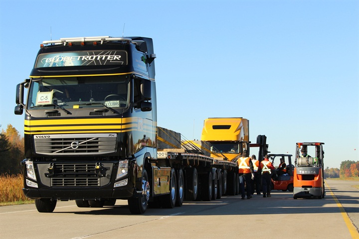 PIT doing fuel-economy testing comparing a European Volvo cabover and