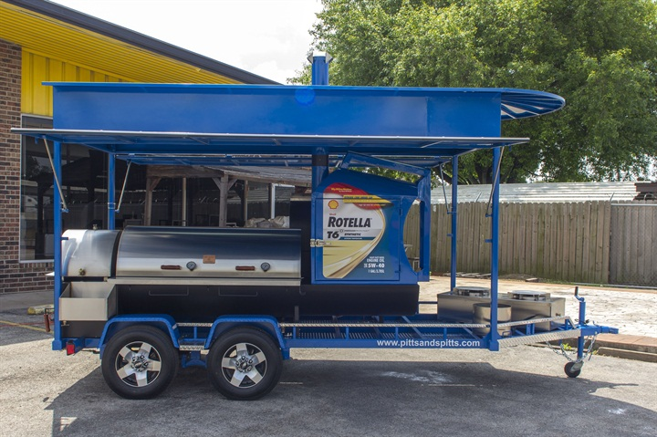 The rolling BBQ weighs about 4,000 pounds. Want one similar to it? It