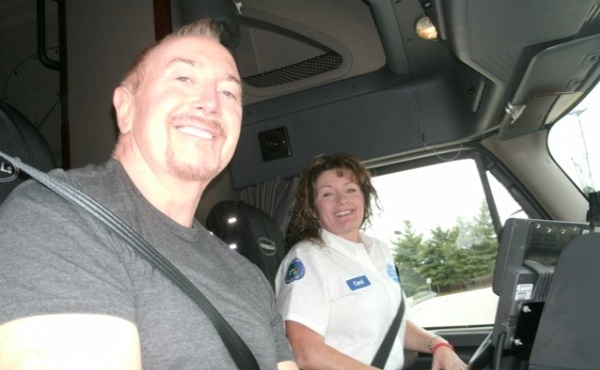 Truck safety advocate Ron Wood rides with veteran Walmart driver Carol