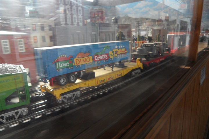 Piggyback is part of the O-gauge model railroad s operation.