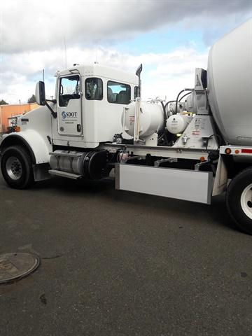 Seattle DOT s concrete mixer truck has a Walker Blocker side guard to