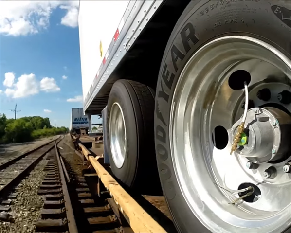 Aluminum wheels are shiny and new, and pressure inflation systems keep