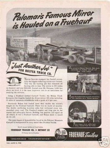 Fruehauf Trailer created a special ad to proclaim its role in the move. Photo via Fruehauf Trailer Historical Society