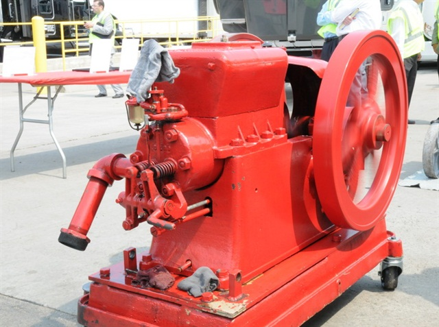 This 95-year-old Hvid engine still produces 6 horsepower at 550 rpm. It weighs 1,100 pounds, and the two flywheels weigh 375 pounds each. Photo by Jim Park
