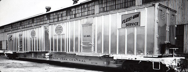 Brand-new Strick Flexi-Vans aboard New York Central skeletal railcars saved weight and lowered load height to cut wind resistance.  Rolling resistance was thus reduced by 5 to 10%, according to a test run in 1966.