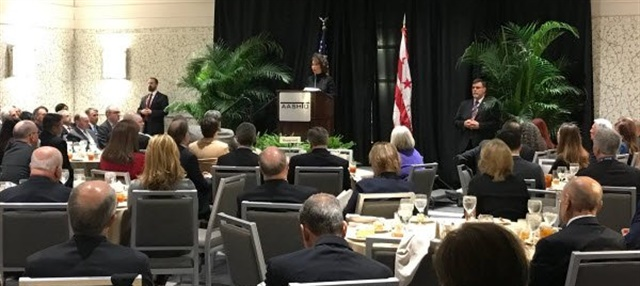 Secretary Chao addressing attendees of AASHTO meeting in Washington on Feb. 28. Photo: via Twitter @USDOT