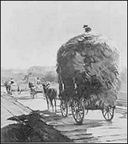 A mule-drawn wagon stacked high with hay has easy going on a 19th Century plank road. But this was an exception in an era of ill-maintained dirt trails.