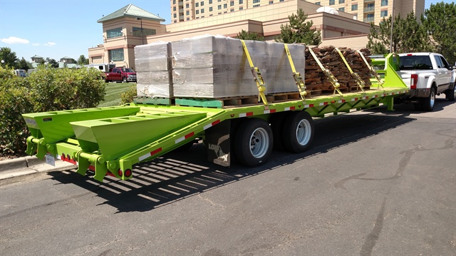 This Load Max gooseneck trailer, laden with block and stone, weighed 29,960 pounds, a Ford engineer said. The F-450 easily handled it. Photos: Tom Berg
