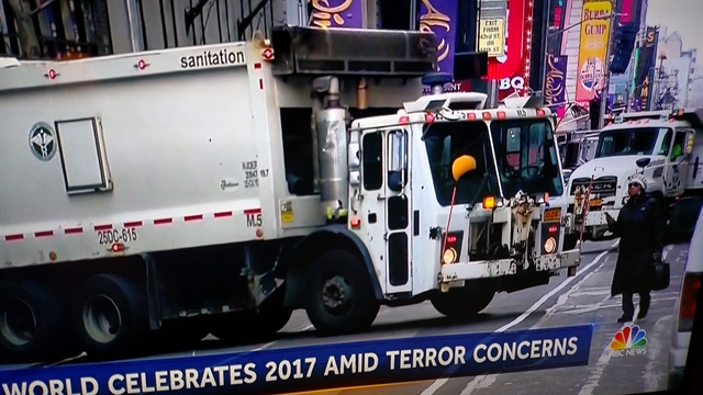 Mack LE trash trucks were added to a wide perimeter around Times Square on New Year's Eve. Try driving through that, ISIS!