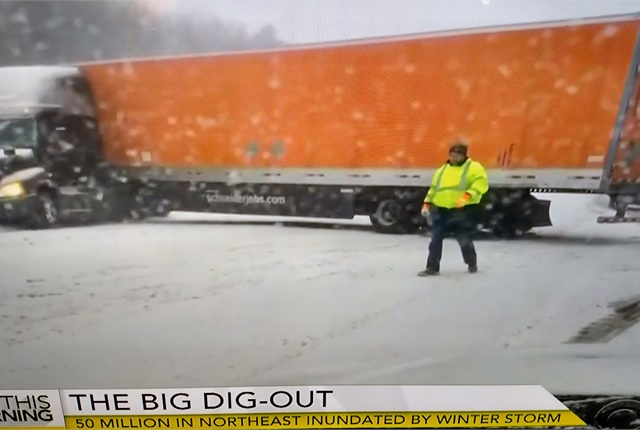 Jackknifes can occur fast and on snow and ice, and are very difficult to recover from. Photos: Tom Berg; from ABC and NBC newscasts.