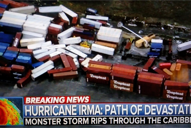 Irma's extreme winds scattered heavy freight containers at a terminal on St. Maarten in the Caribbean. Image: screen capture from NBC News