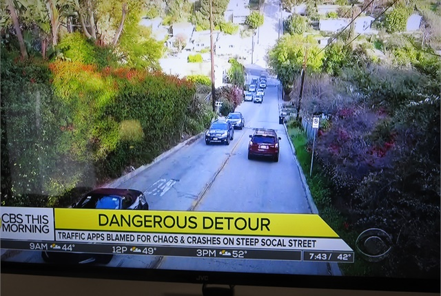 Whoa -- how'd you like to descend this hill with bad brakes? Images: Screen captures from CBS Morning News.