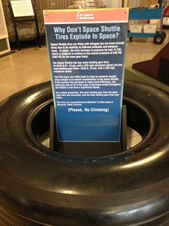 This display at the Hunstville, Ala., Space and Rocket Center got me thinking about nitrogen and tires.