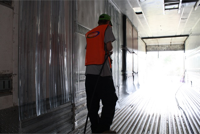 Among services offered by Fleet Clean is washing out the interior of reefer trailers to meet strict food-safety regulations.