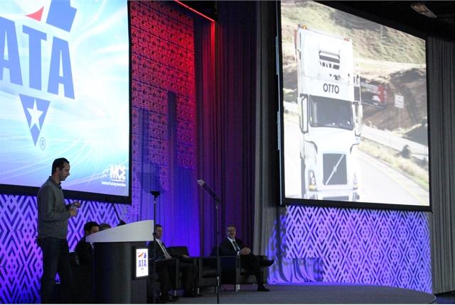 Elon Musk, co-founder of autonomous truck start-up Otto, takes the stage at ATA. Photo: Evan Lockridge