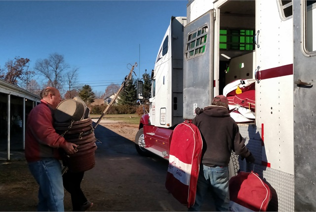 """If a trailer's not full, they make it full"" with tack and other items needed where the horses are going. In this case, it's to winter quarters in central Florida, more than 900 miles away."