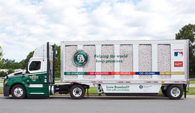 Plexiglass panels reveal the trailer's load of baseballs. Each of the 14 panels, six in each side and two in the rear, weighs 300 pounds. Photos: Old Dominion Freight Line