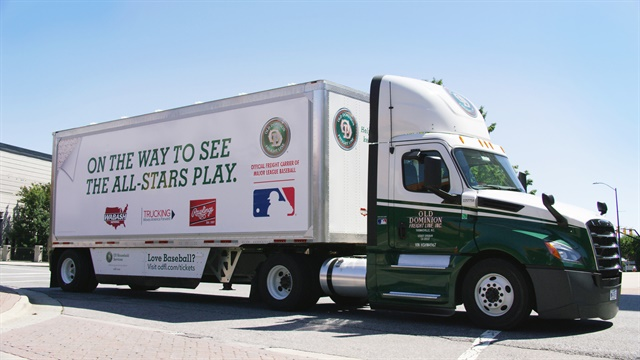 Trailer was vinyl wrapped for the trip to Miami and the All Star Game. Wraps came off at Marlins Park. Tractor is a Freightliner New Cascadia.