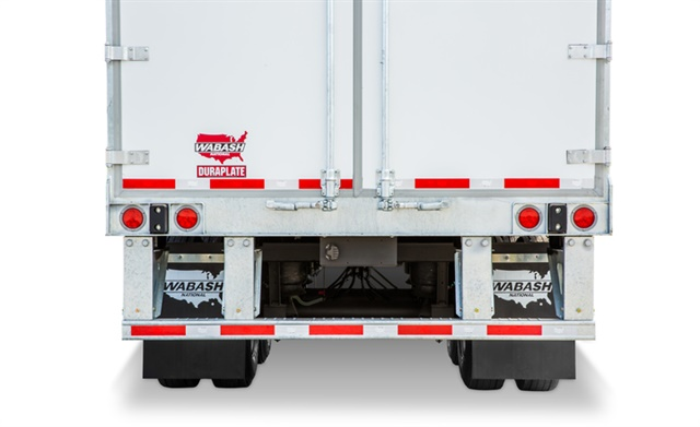 Wabash's RIG-16 rear impact guard, introduced last year, uses high-strength steel throughout, but is especially strong at its outer edges. Photo: Wabash National Corp.
