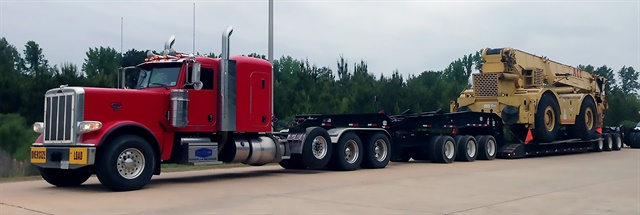 Rogers 70-ton platform-deck lowboy is painted black, the standard color for many heavy-haul trailers in the industry. Photo: Rogers Brothers Corp.