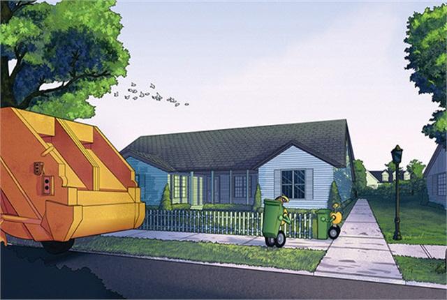 Here's an illustration of the refuse truck helper robot. Illustration: Adrian Wirén, Mälardalens Högskola; Courtesy of Volvo