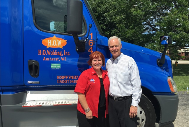 Sen. Ron Johnson got a glimpse of life on the road with Julie Matulle. Photo courtesy Women in Trucking.