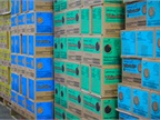 Pallets of cookies awaiting distribution at Evans Distributiong. Photo: Evans