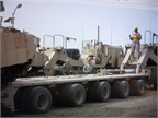 Military heavy transport trailer might look menacing to civilians, but